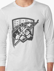 American Patriot Holding Brandish Flag Grayscale Long Sleeve T-Shirt