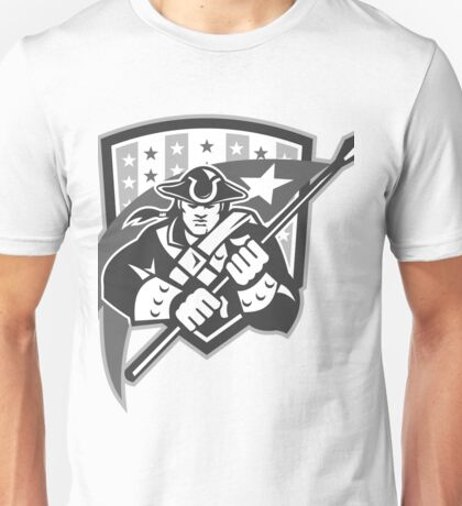 American Patriot Holding Brandish Flag Grayscale Unisex T-Shirt
