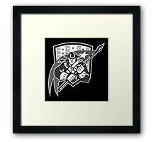 American Patriot Holding Brandish Flag Grayscale Framed Print