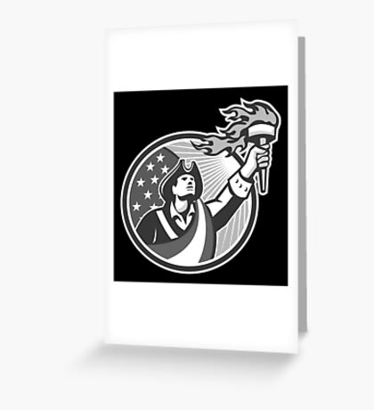 American Patriot Holding Torch Circle Grayscale Greeting Card