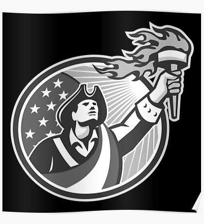 American Patriot Holding Torch Circle Grayscale Poster