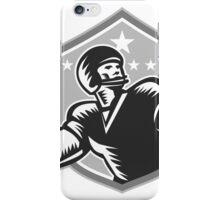 American Football Quarterback Woodcut Grayscale iPhone Case/Skin