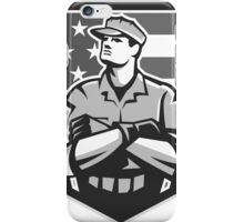 American Soldier Arms Folded Flag Grayscale iPhone Case/Skin