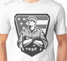 American Soldier Arms Folded Flag Grayscale Unisex T-Shirt