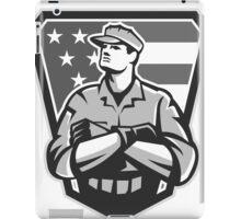 American Soldier Arms Folded Flag Grayscale iPad Case/Skin