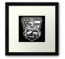 American Soldier Arms Folded Flag Grayscale Framed Print