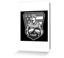 American Soldier Arms Folded Flag Grayscale Greeting Card