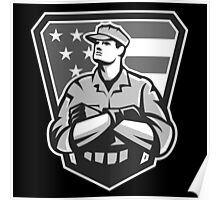 American Soldier Arms Folded Flag Grayscale Poster