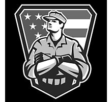American Soldier Arms Folded Flag Grayscale Photographic Print