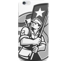 American Patriot Serviceman Soldier Flag Grayscale iPhone Case/Skin