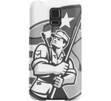 American Patriot Serviceman Soldier Flag Grayscale Samsung Galaxy Case/Skin