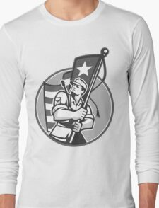 American Patriot Serviceman Soldier Flag Grayscale Long Sleeve T-Shirt