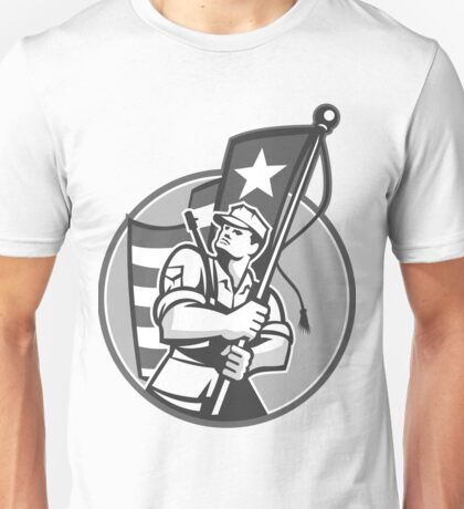 American Patriot Serviceman Soldier Flag Grayscale Unisex T-Shirt