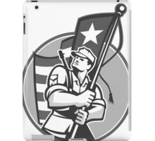 American Patriot Serviceman Soldier Flag Grayscale iPad Case/Skin