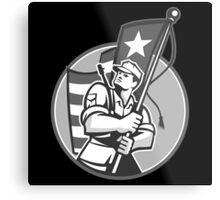 American Patriot Serviceman Soldier Flag Grayscale Metal Print