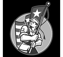 American Patriot Serviceman Soldier Flag Grayscale Photographic Print