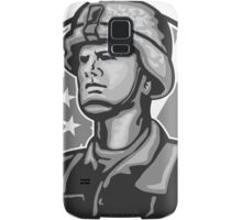 American Serviceman Soldier Flag Grayscale Samsung Galaxy Case/Skin