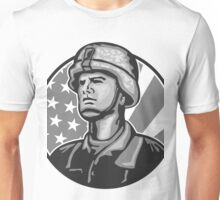American Serviceman Soldier Flag Grayscale Unisex T-Shirt