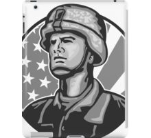 American Serviceman Soldier Flag Grayscale iPad Case/Skin