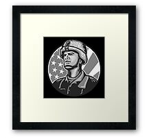 American Serviceman Soldier Flag Grayscale Framed Print