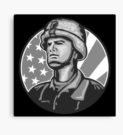 American Serviceman Soldier Flag Grayscale Canvas Print