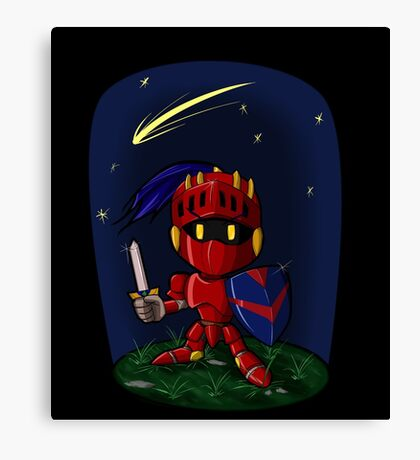 Nighttime with Chibi Knight Canvas Print