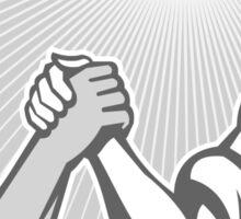 Businessman Office Worker Arm Wrestling Grayscale Sticker