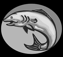 Atlantic Salmon Fish Jumping Grayscale Retro by patrimonio