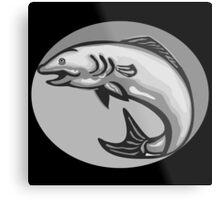 Atlantic Salmon Fish Jumping Grayscale Retro Metal Print
