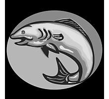 Atlantic Salmon Fish Jumping Grayscale Retro Photographic Print