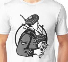 Bagpiper Bagpipes Scotsman Grayscale Retro Unisex T-Shirt