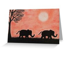 Elephants and Tree: Two Elephants Silhouettes with Tree Greeting Card