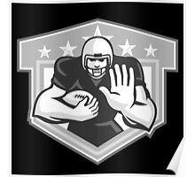 American Football Running Back Fending Grayscale Poster
