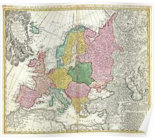 Vintage Map of Europe (1743) Poster