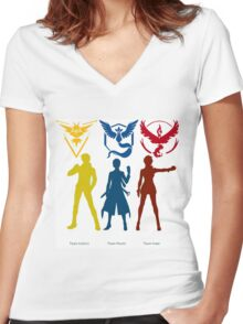 team mystic, valor and instinct Women's Fitted V-Neck T-Shirt
