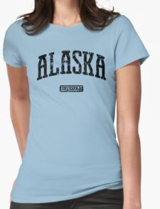 Alaska Represent (Black Print) Womens Fitted T-Shirt