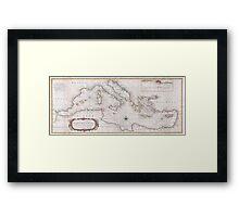 Vintage Map of The Mediterranean Sea (1745) Framed Print