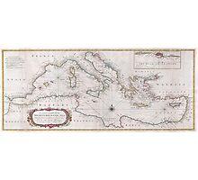 Vintage Map of The Mediterranean Sea (1745) Photographic Print