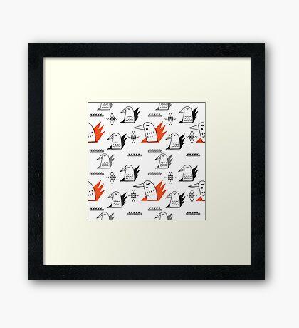 Birds in flames Framed Print