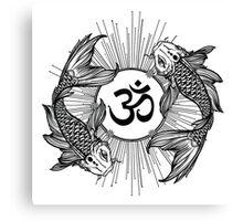 Koi carp holding a shining Ohm sign Canvas Print