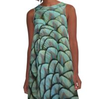 Beautiful Elegant Peacock Feathers A-Line Dress