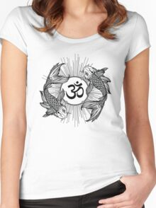 Koi carp holding a shining Ohm sign Women's Fitted Scoop T-Shirt