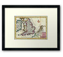 Vintage Map of England (1747) Framed Print