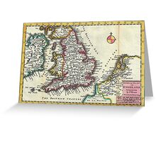 Vintage Map of England (1747) Greeting Card