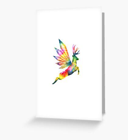 Flying Deer Print Greeting Card
