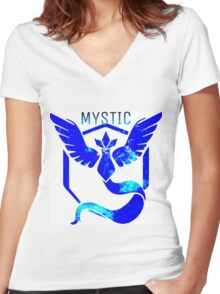 Team Mystic Galaxy Women's Fitted V-Neck T-Shirt