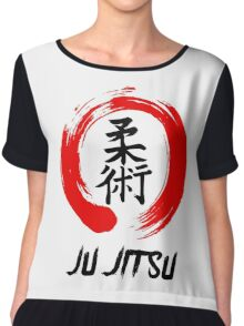 JuJitsu Kanji and red brush circle Chiffon Top