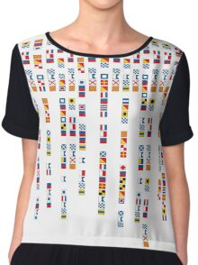 In the Navy - Navy Alphabet - Navy Signal Flags Chiffon Top