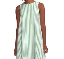 Adorable Mint Green & Blue Striped Abstract  A-Line Dress