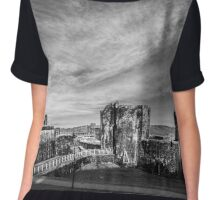 Caerphilly Castle Panorama Monochrome Chiffon Top